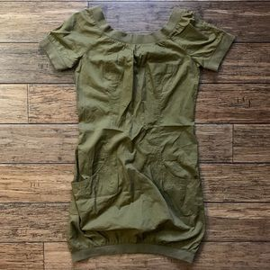 French Connection Dresses - Olive Drab Short Sleeve Casual Pocket Dress
